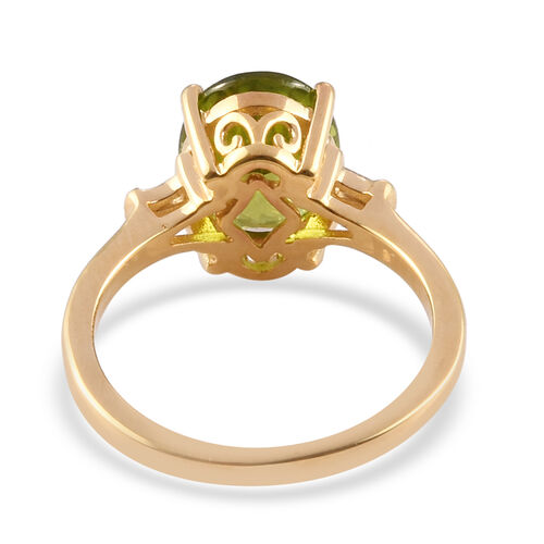 AA Hebei Peridot, Diamond Ring in 14K Gold Overlay Sterling Silver 3.00 Ct.