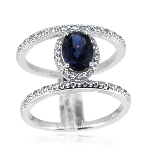 Iolite (Ovl 1.00 Ct), White Topaz Ring in Rhodium Plated Sterling Silver 1.260 Ct.