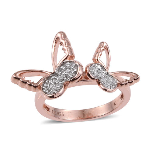 Kimberley Butterfly Collection Natural Cambodian Zircon (Rnd) Butterfly Ring in Rose Gold Overlay St