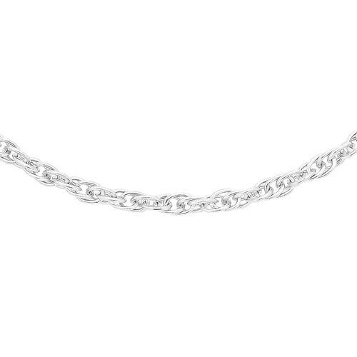 9K White Gold Prince of Wales Chain (Size 20) with Spring Ring Clasp
