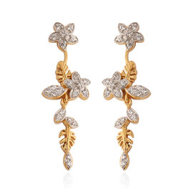 J Francis 14K Yellow Gold and Platinum Overlay Sterling Silver Dangle Floral Earrings (with Push Bac