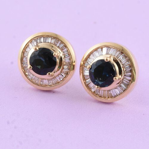 ILIANA 18K Yellow Gold AAA Monte Belo Indicolite (Rnd), Diamond (SI/G-H) Stud Earrings (with Screw Back) 1.250 Ct.