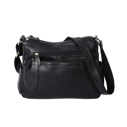 100% Genuine Leather Crossbody Bag with Multiple Pockets and Zipper Closure (Size 31x13x24 Cm) - Bla