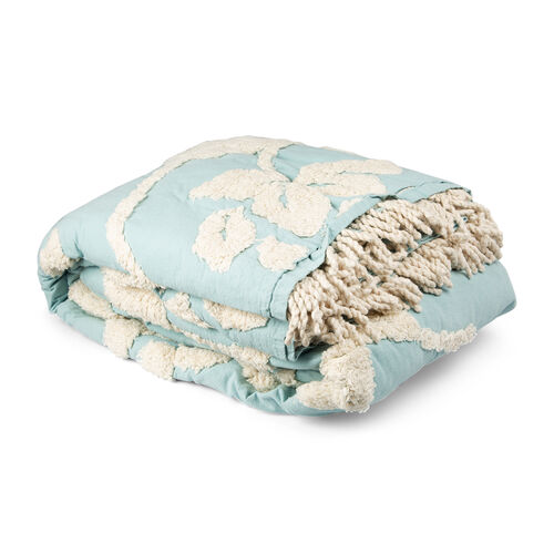 100% Cotton Teal and Cream Colour Tufted Bed Cover with Fringes (Size 260X240 Cm) and 2 Pillow Cases