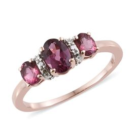 One Time Deal- Tanzanian Pink Garnet (Ovl) 3 Stone Ring in Rose Gold Overlay Sterling Silver 1.000 Ct.