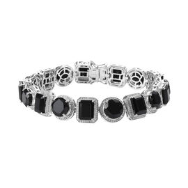 50 Carat Natural Boi Ploi Black Spinel Bracelet in Platinum Plated Silver 8 Inch