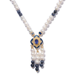 Freshwater Pearl and Masoala Sapphire Enamelled Necklace (Size 18 with 2 inch Extender) in 14K Gold