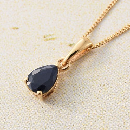 Kanchanaburi Blue Sapphire (Pear) Solitaire Pendant with Chain in 14K Gold Overlay Sterling Silver 0.750 Ct.