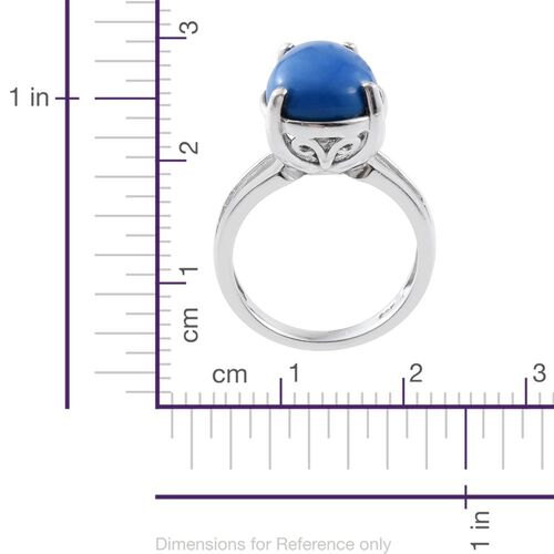 Ceruleite (Pear) Solitaire Ring in Platinum Overlay Sterling Silver 3.750 Ct.