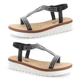OLLY Belle Toe Post Low Wedge Sandal in Black Colour