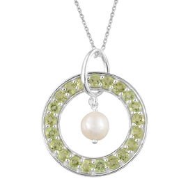 Hebei Peridot (Rnd), Fresh Water Pearl Circle of Life Pendant With Chain in Platinum Overlay Sterling Silver 6.000 Ct, Silver wt 5.00 Gms