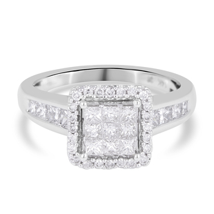 NY Close Out- 14K White Gold Diamond (SI-I1/G-H) Cluster Ring 1.02 Ct.