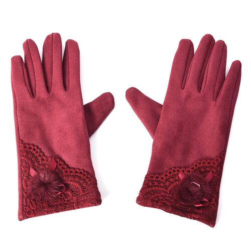 Solid Colour Women Winter Gloves with Lace and Faux Fur Ball on the Wrist (Size 8.9x22.9 Cm) - Wine
