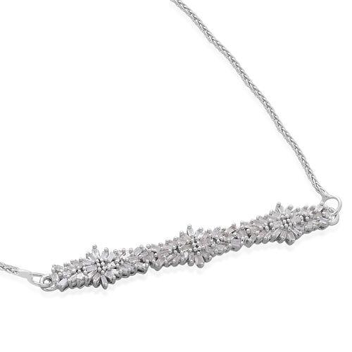 Designer Inspired - Fire Cracker Diamond (Bgt) Floral Adjustable Bracelet (Size 6.5 to 8.5) in Platinum Overlay Sterling Silver 0.500 Ct.
