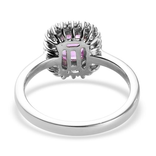 RHAPSODY 950 Platinum AAAA Pink Sapphire and Diamond (VS) Halo Ring 1.20 Ct.