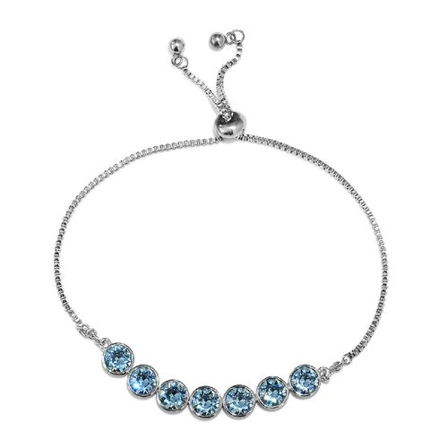 J Francis Aquamarine Colour Crystal from Swarovski Bolo Bracelet in Platinum Plated 6.5 to 9.5 Inch
