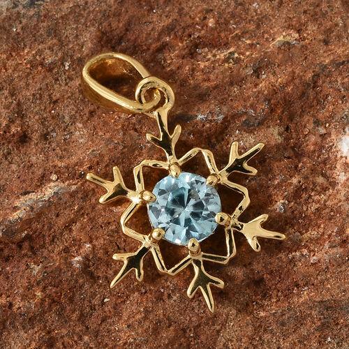 Blue Zircon (Rnd) Snowflake Pendant in 14K Gold Overlay Sterling Silver
