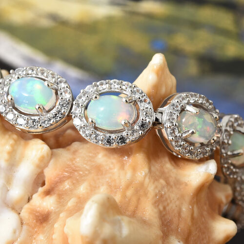 Vintage Collection-Ethiopian Welo Opal (Ovl), Natural Cambodian Zircon Bracelet (Size 7.5) in Platinum Overlay Sterling Silver 13.50 Ct, Silver wt 16.82 Gms, Number Of Gemstone 255