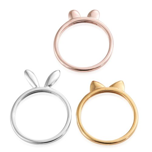 Set of 3 - Bunny, Cat and Mouse Ear Stack Rings in Platinum, Yellow Gold and Rose Gold Overlay Sterling Silver, Silver wt 5.35 Gms.