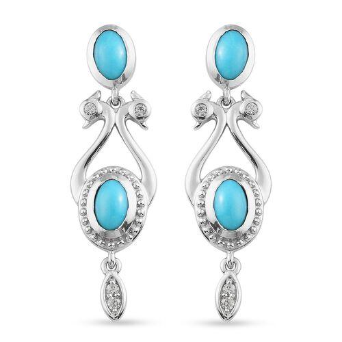 AA Arizona Sleeping Beauty Turquoise and Natural Cambodian Zircon Dangling Earrings (with Push Back)