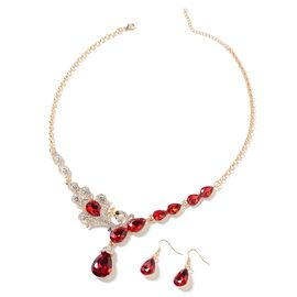 Simulated Ruby (Pear), White and Black Austrian Crystal Drop Hook Earrings and Necklace (Size 20 and 2.5 inch Extender) in Yellow Gold Tone