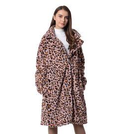 Pink and Black Colour Leopard Print Pattern Faux Fur Long Coat (Size XXL to XXXL)