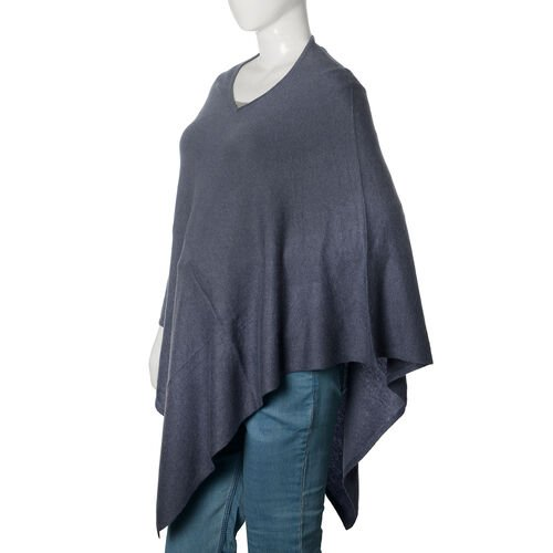 100% Pashmina Wool Dark Grey Colour Poncho (Free Size)