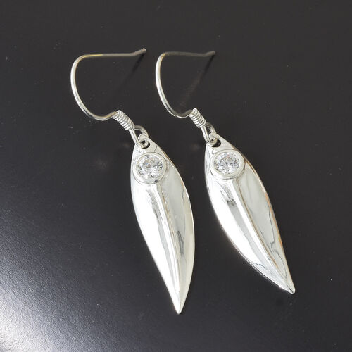 J Francis Sterling Silver (Rnd) Hook Earrings Made with SWAROVSKI ZIRCONIA