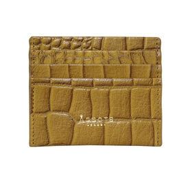 Assots London FANN Croc Embossed Genuine Leather RFID Credit Card Holder (Size 10.8.5cm) - Mustard