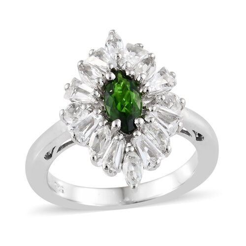 2.25 Ct Russian Diopside and White Topaz Halo Ring in Platinum Plated Silver