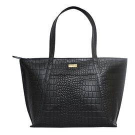 Assots London AGNES Croc Embossed Genuine Leather Tote Bag with Zipper Closure (Size 42x28x10) - Bla