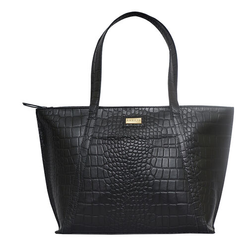 Monster Deal- Assots London AGNES Croc Embossed Genuine Leather Tote Bag with Zipper Closure (Size 4