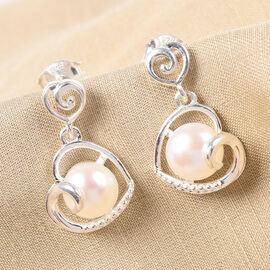 Freshwater Pearl Heart Drop Earrings (with Push Back) in Sterling Silver