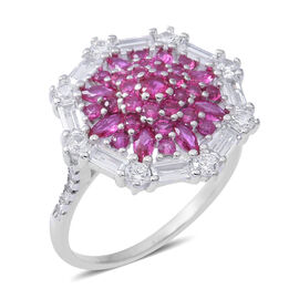 ELANZA Simulated Burmese Ruby (Rnd), Simulated Diamond Floral Ring in Rhodium Overlay Sterling Silver