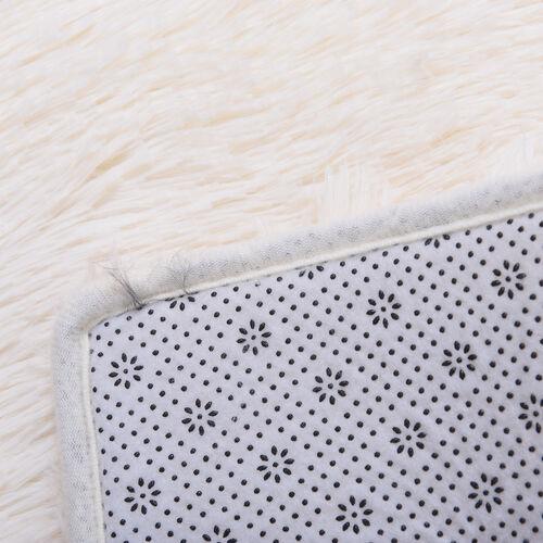 Fluffy Microfibre Faux Fur Rug with Non-Slip Bottom (140x200cm) - Cream