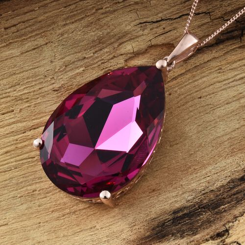 J Francis Crystal from Swarovski - Fuchsia Crystal (Pear) Pendant with Chain (Size 30) in Rose Gold Overlay Sterling Silver, Silver wt 9.50 Gms.