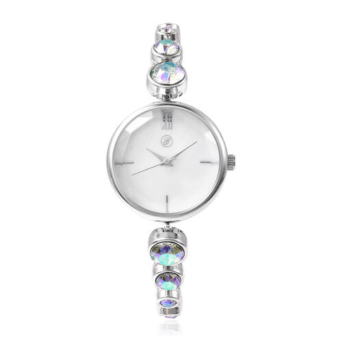 2 Piece Set - GENOA Japanese Movement Magic Colour Swarovski Crystal Studded Water Resistant Bracelet Watch and Adjustable Bolo Bracelet (Size 6-9.5) in Silver Tone
