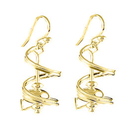 New York Close Out Yellow Gold Overlay Sterling Silver Dangle Hook Earrings