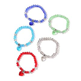 Set of 5 - Multi Colour Beads Stretchable Bracelet (Size 6.50) with Heart Charm in Silver Tone