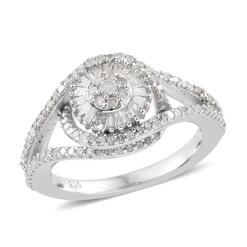 0.75 Ct Diamond Floral Cluster Ring in Platinum Plated Sterling Silver