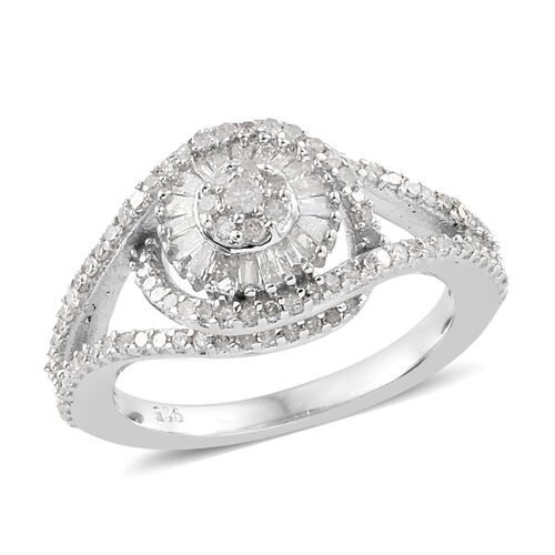 Diamond (Rnd) Floral Ring in Platinum Overlay Sterling Silver 0.750 Ct., Number Of Diamond 136