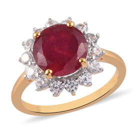 Luxury Collection- African Ruby (Rd 9) and Natural White Zircon Ring in 14K Gold Overlay Sterling Si