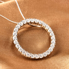 Moissanite Circle of Life Pendant in Rhodium Overlay Sterling Silver 1.94 Ct.