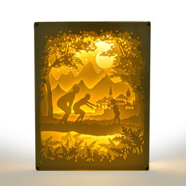 Fairy Tale Lighting with Paper Cut 3D Fantasia Motif (Size 26x20 cm)