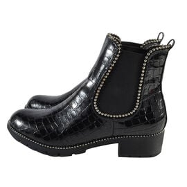 Faux Leather Croc Patterned Gusset Boots In Black