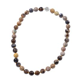 Australian Boulder Opal (Rnd 12-13 mm) Beads Necklace (Size 20) in Rhodium Overlay Sterling Silver w