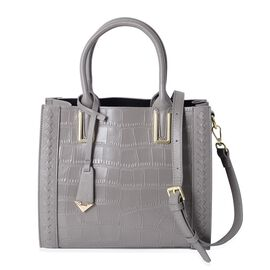 100% Genuine Leather Grey Colour Crocodile Embossed Tote Bag with Removable Shoulder Strap (Size 28x24.5x12 Cm)