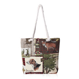Beige and Multicolour Hunting Pattern Tote Bag (Size 43x35x11x39 Cm) with Zipper Closure