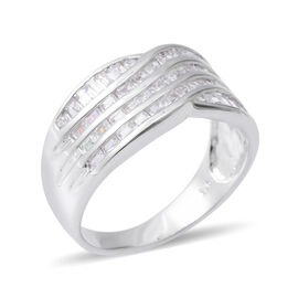 ELANZA Simulated Diamond (Oct) Ring in Rhodium Overlay Sterling Silver