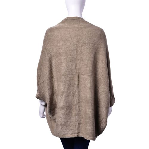 Grey Colour Ruana with Sleeve (Size 115x65 Cm)